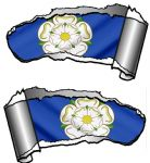 Small Pair Ripped Torn Metal Gash Design & Yorkshire Rose York Flag Vinyl Car Sticker 93x50mm each